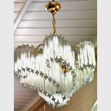 Murano Chandelier- Large | Period: Art Deco c1970 | Make: Murano | Material: Crystal, glass & brass