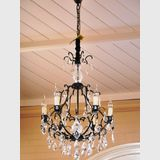 6 arm Chandelier | Period: Retro c1970s | Material: Crystal with black metal frame