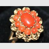 Petal Ring | Period: c1975 | Material: 9ct. Gold & Coral | 9ct. Gold & Coral Petal Ring