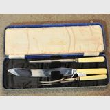 Cased Carving Set | Period: c1930s | Make: Thomas Ibbotson & Co | Material: Bone Handles