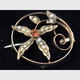 Australian Gold Brooch | Period: c1920s | Make: Willis & Sons, Melbourne, Victoria | Material: 9ct gold, garnet & seed pearls.