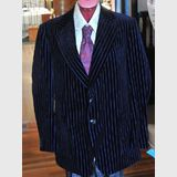 Men's Evening Jacket | Period: c1970s | Make: McGregor by Stafford Ellinson | Material: Blue pin-stripe velvet