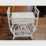 Seagrass Piano Stool | Period: Victorian | Material: White painted seagrass