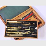 Geometrical Drawing Set | Period: Prob. late 18th C | Material: Brass in Inlaid Rosewood Case