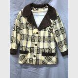 Check Jacket | Period: c1960s | Make: Handmade | Material: Cream & Brown Wool Blend