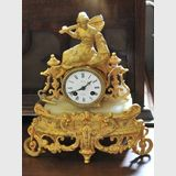 Figural Mantle Clock | Period: 1890s | Make: Japy Freres, Behm. | Material: Gilt and marble