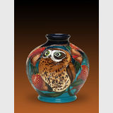 Moorcroft BooBook Owl vase | Period: 2015 Australian Exclusive design | Make: Moorcroft | Material: Pottery | BooBook Owl view one