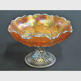 Emu & Gumtrees Comport | Period: c1926 | Make: Crown Crystal Glass Co | Material: Carnival Glass