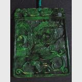Carved Green Jade Pendant | Period: Vintage | Material: Green jade