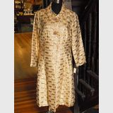 Gold lame Dress Coat   Period: c1960s   Make: Myer   Material: Gold lame with bead belt buttons