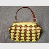 Raffia Straw  Bag | Period: c1950s | Material: Multi-toned raffia with leather handle