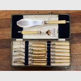 Fish Set with Servers | Period: c1920s | Material: Silver Plate, bone handles