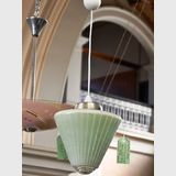 Conical Drop Light | Period: c1950s | Material: Green glass