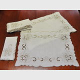 Placemat and Napkin Set | Period: c1950 | Material: Embroides linen.