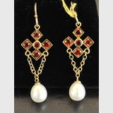 Garnet & Pearl Drop Earrings | Period: New | Material: 9ct. Gold, garnets and freshwater pearls.