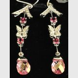 Topaz Drop Earrings | Period: New | Material: 14ct. white gold, garnets, topaz and diamonds