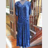 Velvet Dress | Period: 1930s | Make: Handmade | Material: Blue velvet with handstitched beading