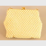 Cream Beaded Bag | Period: 1960s | Material: Beads with gold chain handle