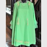 Dress & Coat Ensemble | Period: c1960 | Material: Lime Green Chiffon