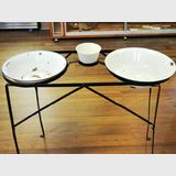 Camping Washstand | Period: Vintage c1950s | Material: Iron with enamel basins
