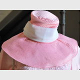 Broad Brim Hat | Period: c1960s | Material: Pink satin with ribbon