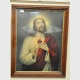 Framed Print of Jesus | Period: c1920s | Material: Carved oak frame