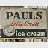Pauls Ice Cream Sign | Period: c1950s | Material: Painted tinplate