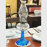 Oil Lamp | Period: Edwardian c1910 | Material: Blue & clear glass