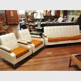 Retro Three Piece Lounge | Period: Retro c1960s | Material: Timber frame, vinyl fabric
