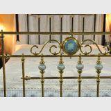 Queen Brass Bed | Period: Edwardian c1905 | Material: Brass, iron & porcelain