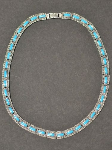 Turquoise Necklet | Period: New | Material: S/Silver, Turquoise and Marcasite