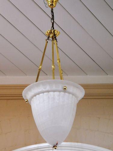 Milk Glass Hall Light | Period: c1970s | Material: Glass & brass