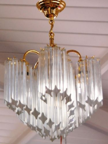 Murano Chandelier | Period: Art Deco c1970 | Make: Murano | Material: Crystal Glass & Brass