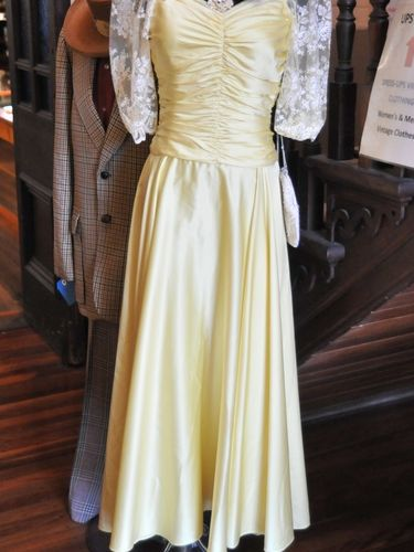 Party Dress | Period: c1970s | Material: Yellow Satin - nylon lace