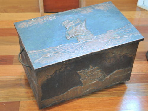 Wood Box | Period: Edwardian c1910 | Material: Timber with embossed copper sheeting
