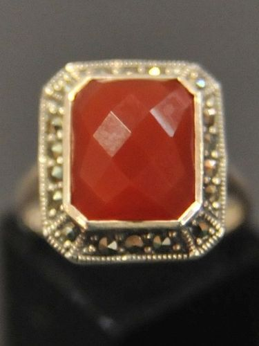 Marcasite Ring | Period: New | Material: Sterling Silver with Bevelled Carnelian