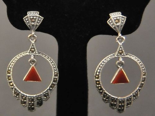 Earrings | Period: New | Material: Sterling Silver, Marcasite and Red Carnelian