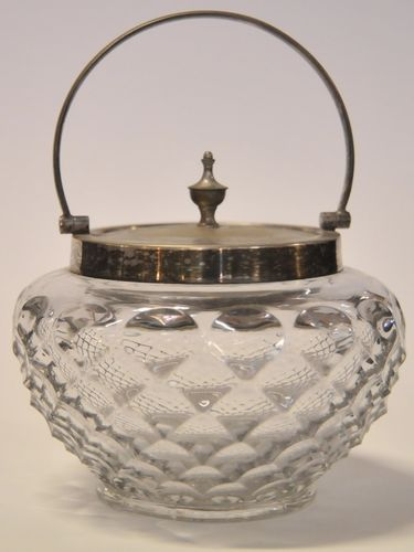 Biscuit Barrel | Period: Victorian c1900 | Make: J B C & S Ltd | Material: Heavy Pressed Glass and EPNS mounts