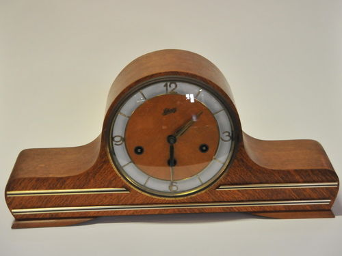 Mantle Clock | Period: c1950s | Make: Schatz | Material: Walnut