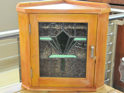 Leadlight Corner Cabinet | Period: Casket c1930, leadlight new | Material: Pine and leadlight