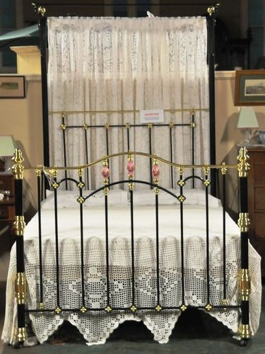 Queen Brass & Iron Bed | Period: Edwardian c1905 | Material: Brass, Iron & Porcelain