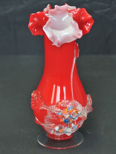 Cased Vase | Period: Victorian | Material: Glass | Red over white with applied floral decoration