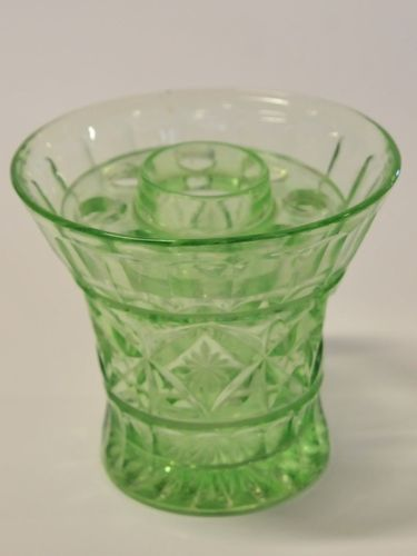 Vase with Frog | Period: c1930s | Material: Green pressed glass