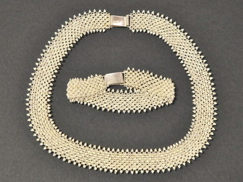 Filagree Necklace & Bracelet   Period: 1950's   Material: .950 Silver