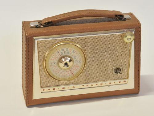 AWA Transistor Radio | Period: c1960s | Make: AWA Radiola Transistor | Material: Vinyl covered.
