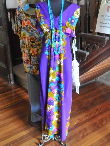 Hostess Frock | Period: c1960s | Material: Purple print.
