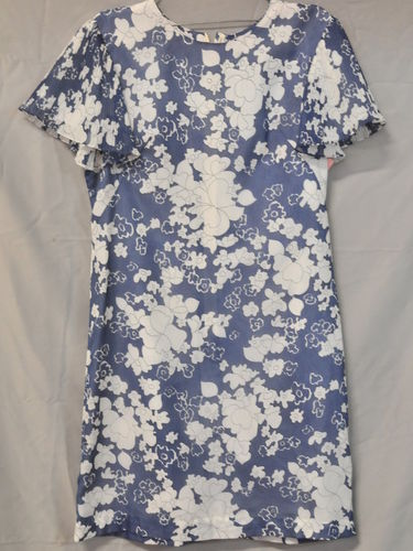 Floral Dress | Period: c1960s | Make: Handmade | Material: Blue & White polyester and cotton