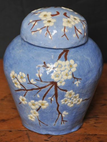 Harvey School Ginger Jar | Period: 1930 | Make: Florence Archer | Material: Glazed Pottery | Harvey School Lidded Ginger Jar signed by Florence Archer