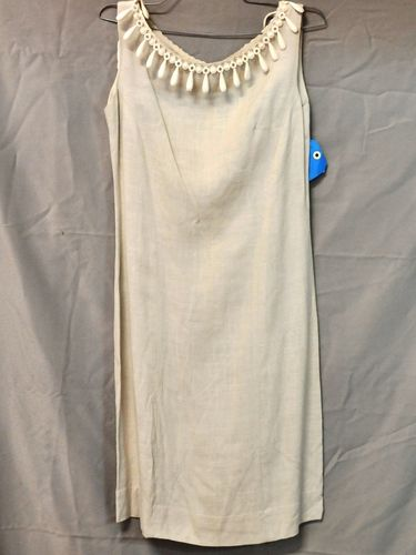 Summer Dress   Period: c1960s   Make: Sherwod   Material: Irish linen with rayon and lace