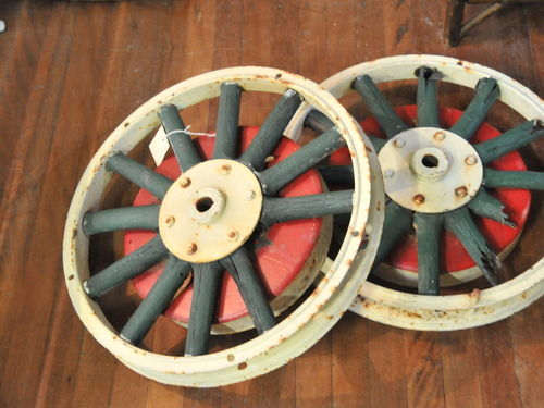 Car Wheel | Period: c1920s | Material: Wood spokes and iron hub and rim